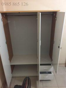 Tủ nhựa Đài Loan 3 cánh 2 ngăn kéo nhỏ