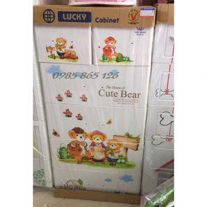 tủ nhựa việt nhật lucky 5 tầng 6 ngăn gấu vàng