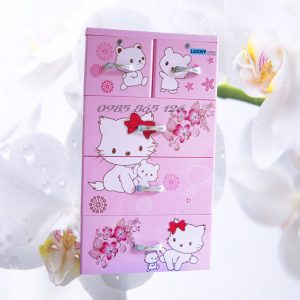 tủ nhựa việt nhật lucky 5 tầng 6 ngăn hồng mèo