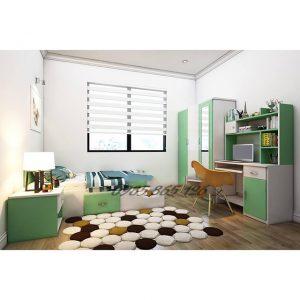 Nội thất nhựa Đài Loan bàn học, giường, tủ quần áo, tab đầu giường.