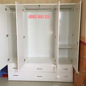 tủ nhựa đài loan 4 cánh 6 ngăn kéo màu trắng