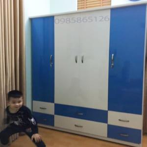 Tủ nhựa Đài Loan 4 cánh 6 ngăn kéo màu xanh dương trắng