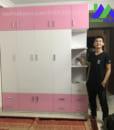 tủ nhựa đài loan chinhuei 5 cánh màu hồng trắng